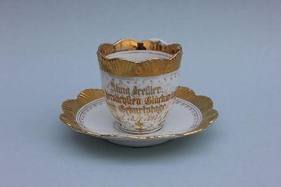Kaffeetassse mit Goldmalerei - Glückwünsche zum Geburtstage 1898