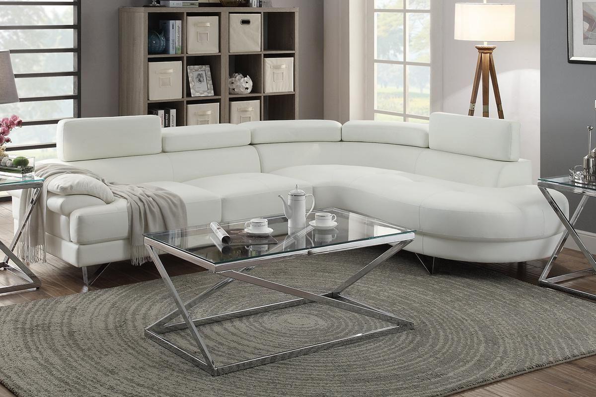Poundex 2 Pcs Sectional White Bonded Leather Sofa