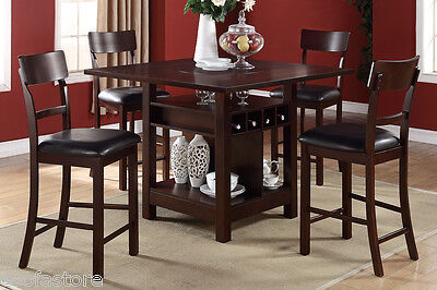 5P Dining Set Counter Height Table High Chair Buit-In Lazy Susan Dining Room