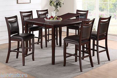7Pc Dining Set Counter Height Table High Chair Chairs Birch Veneer Dining Room Birch Dining Room Table