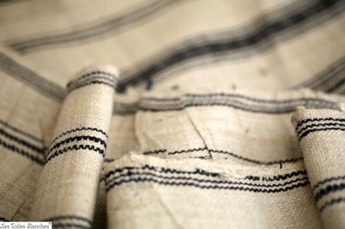 6,7 yards Antique French blue stripes LINEN fabric homespun c 1880