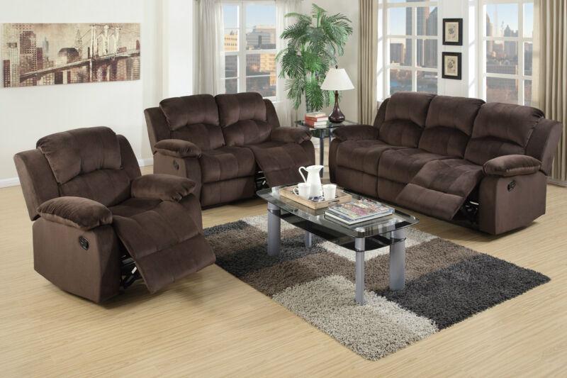 Beautiful & Durable 3Pc Motion Sofa Set Chocolate Plush Leather Living Room Home