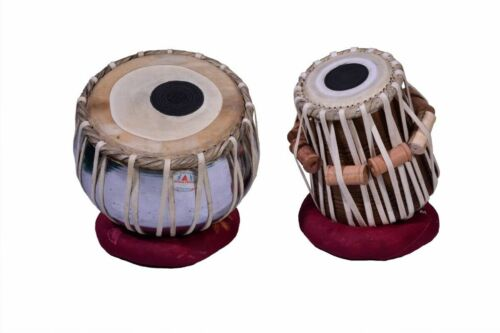 IRON TABLA SET Chrome Finish, Black Wood Dayan INDIAN MUSICAL INSTRUMENT Leather