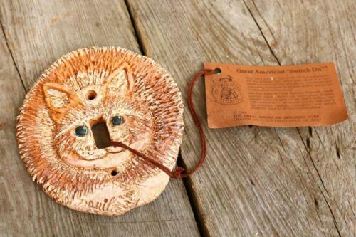 Wall switch Plate art CAT Kitty Feline Design Brown Unique Gift Decor Estate BC