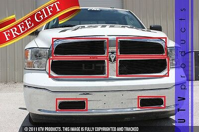 GTG 2013 - 2019 Dodge Ram 1500 6PC Gloss Black Custom Overlay Billet Grille Kit