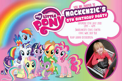 Personalised Photo My Little Pony Birthday Party Invites inc envelopes MLP9