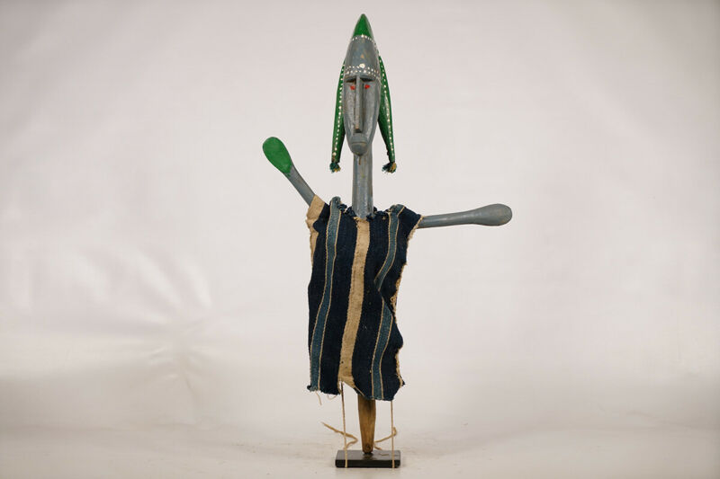 """Articulated Bozo Puppet on Custom Stand 25"""" - Mali - African Art"""