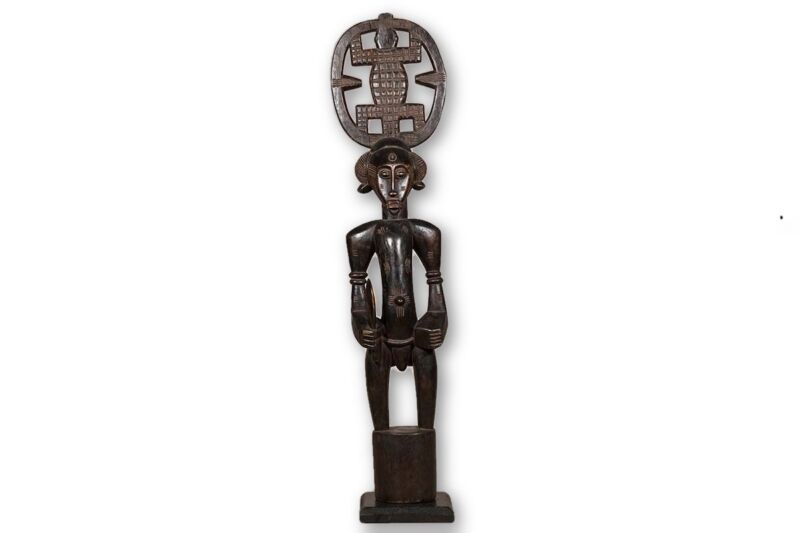 "Senufo African Rhythm Pounder 48.5"" with base - Ivory Coast"