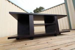 ~ RRP $300 ~ Lowline Coffee Table on Wheels ~ Wooden Brown ~ St Kilda East Glen Eira Area Preview