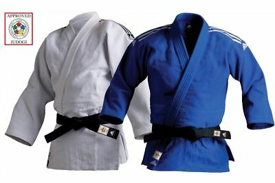 Adidas Champion II Judo IJF Suit Red Label GI Heavyweight Uniform White Blue
