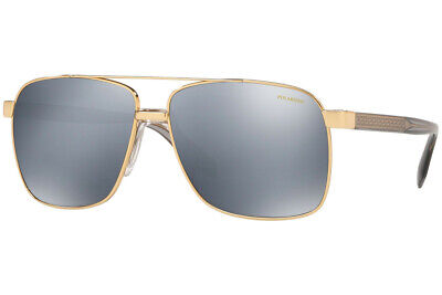 NWT Versace Men Sunglasses VE2174 1002Z3 Polarized Gold/Grey Silver Mirror 59mm