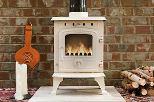 PADSTOW 4.5 KW CAST IRON ENAMEL MULTIFUEL WOOD BURNING STOVE CORNISH CREAM