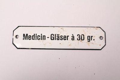 Medicin-Gläser a 30gr Enamel Sign Colonial Krämmerladen Medicine ca.1900