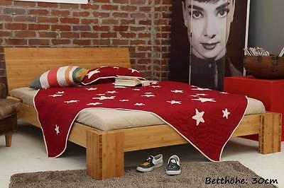 BURMA Bambusbett mit Rückenlehne 200x220cm, 30cm oder 40cm Bett Höhe, NEU! ()