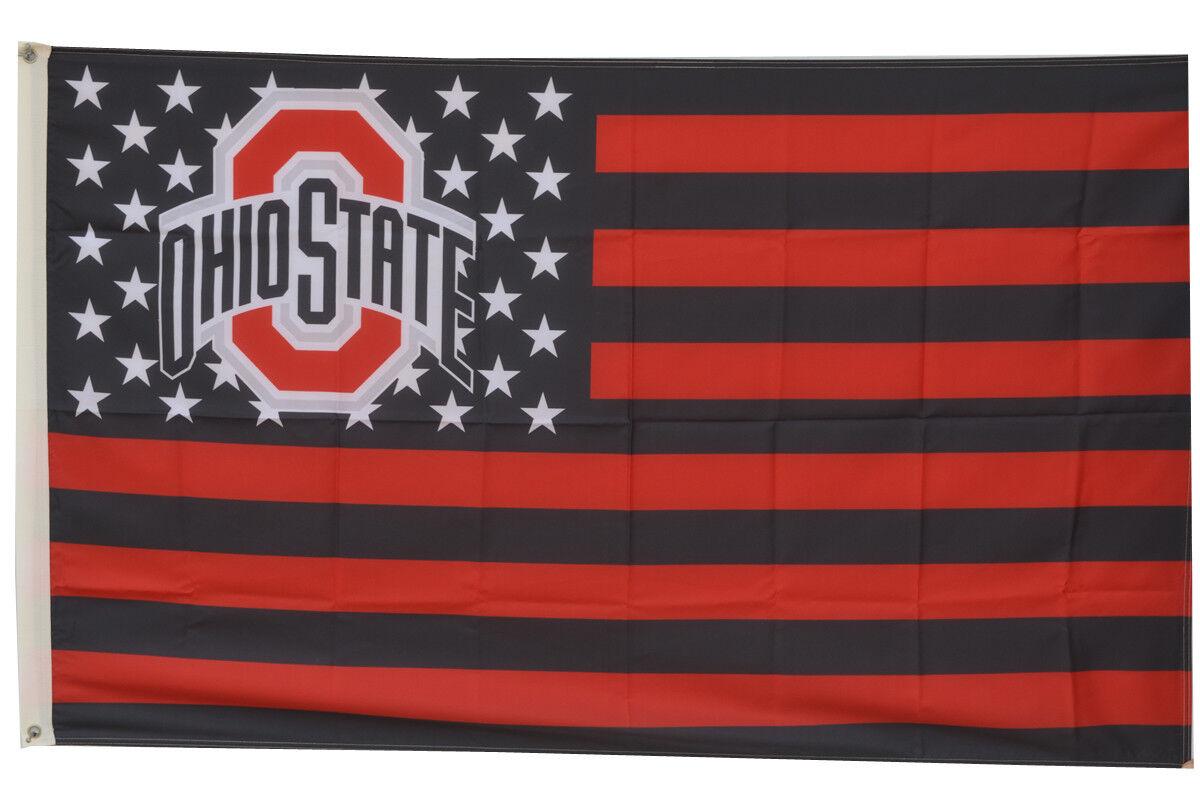 Ohio State Buckeyes US Stars&Stripes Flag Banner 3x5Feet US