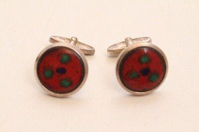 2 Beautiful Cufflinks Pair Original 1970er Vintage Enamel Colourful Colourful