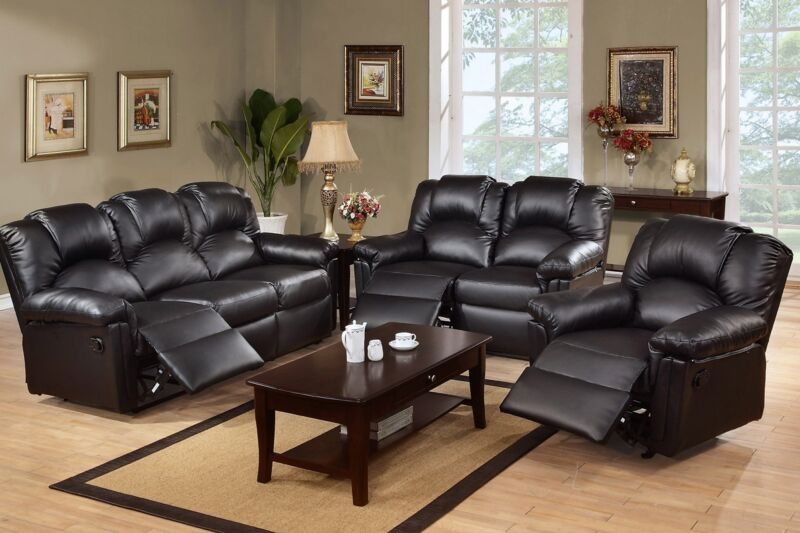 Black Motion Sofa Set 3 Pc Leather Sofa Loveseat Recliner Furniture Living Room