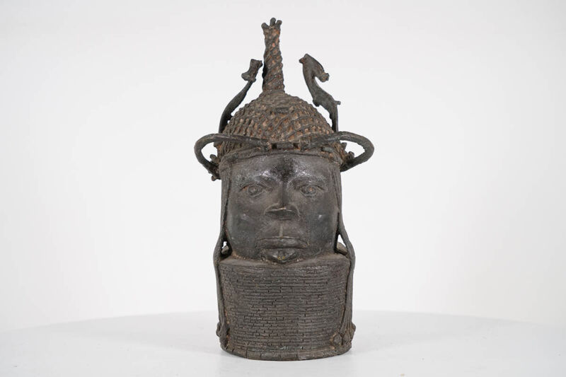 "Benin Bronze Warrior Head 12"" - Nigeria - African Art"