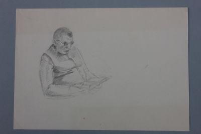 Buch lesender Mann Bleistiftzeichnung, 1920er Jahre - Nachlass Anton Kist ()