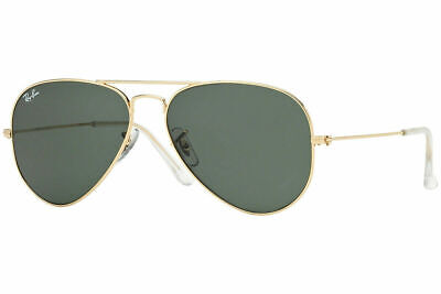 Ray Ban Aviator RB3025 W3234 Gold Green 55mm G-15 Sunglasses New AUTHENTIC