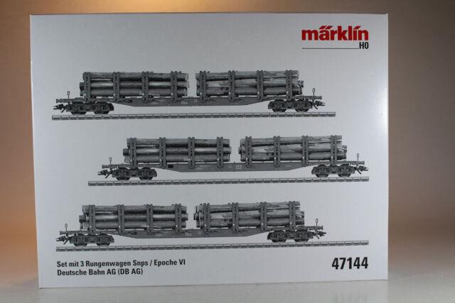 Märklin 47144 Set mit 3 Rungenwagen Snps DB AG Epoche VI, Neuware.