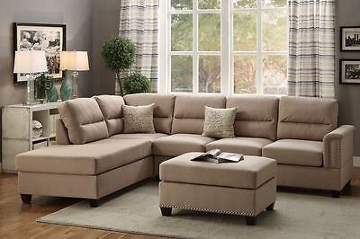 Living Room 3 Pieces Wood Legs Sand Polyfiber Sectional Sofa Set with Ottoman  3 Piece Living Room Ottoman