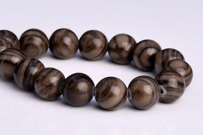 6MM Natural Coffee Brown Swirl Jasper Grade AAA Round Gemstone Loose Beads 7.5