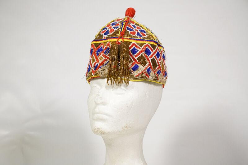 "Gorgeous Colorful Yoruba Beaded Hat 7"" - Nigeria - African Art"