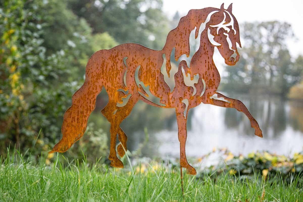 Gartenstecker Pferd Edelrost, Rost H: 70cm Pflanzstecker Gartenstab Rostdeko