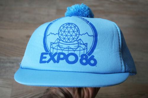 EXPO 86 Vancouver Canada Vintage 1986 Blue Pompom Trucker Hat Souvenir RARE