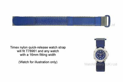Genuine Timex Quick Release Nylon Watch Strap -T78961 (16mm Blue) ()