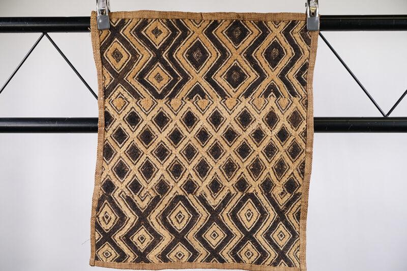 """Beautiful Kuba Cloth Textile 23"""" x 22"""" - DRC - African Art"""