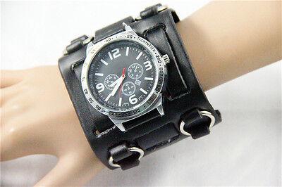 - Big Gothic/Punk Style Men's Watch 7.5cm Wide Leather Cuff Fashion Wristwatch