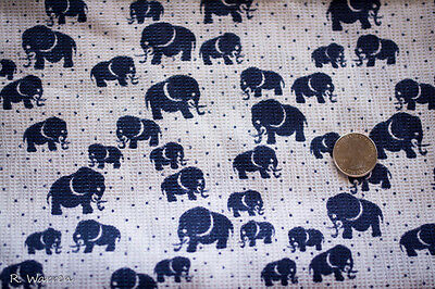 Vintage Elephant Fabric Material White Navy Blue