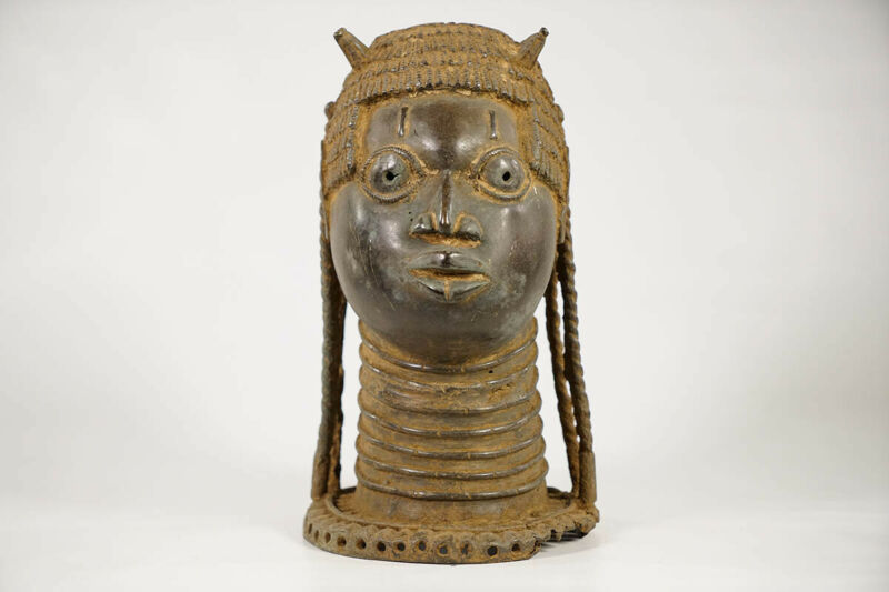 "Unique Benin Bronze Head 11"" - Nigeria - African Art"
