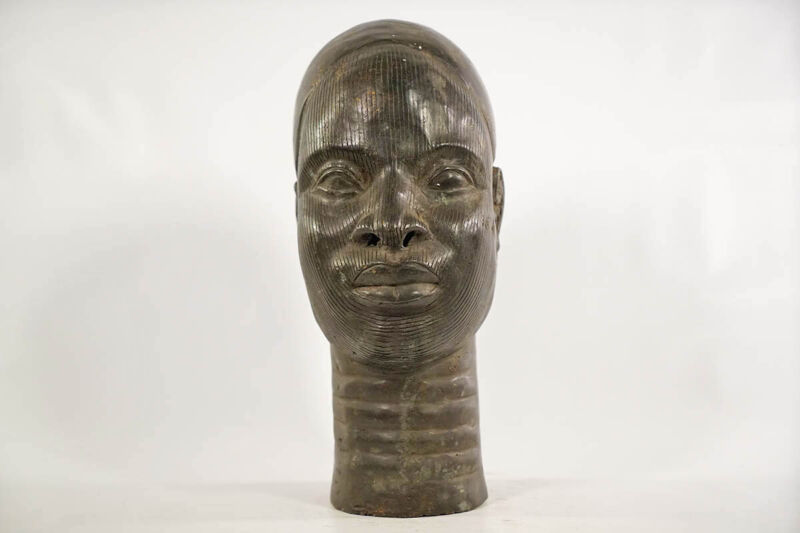 "Yoruba Style Bronze Ife Head 13"" - Nigeria - African Art"