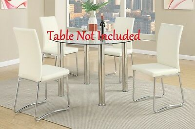 Upholstered Simple Design High Back Set Of 2 Dining Chairs White Faux Metal Legs
