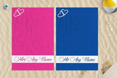2x Personalizado Corazón Mr&Mrs Diseño Microfibra 147x99.1cm Toalla Playa Boda