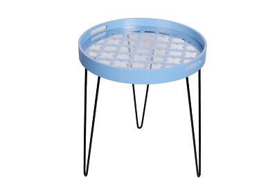 Moderner Runder Schrank (Tische Nachtschrank Moderner Beisteltisch Blau Handgefertigt In Runder Form)