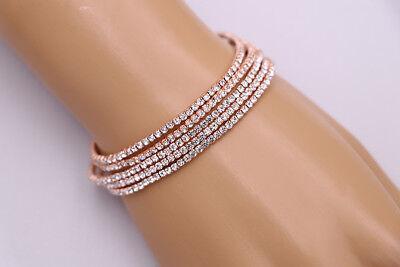 Rose Gold Rhinestone Five Row Tennis Wedding Bridal Bridesmaids Bracelet - Ebay Bracelets