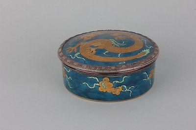 Antike Porzellan Deckeldose mit Drache, Silberrand