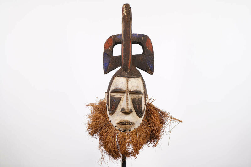 """Colorful Igbo Maiden Style Mask 24"""" - Nigeria - African Art"""
