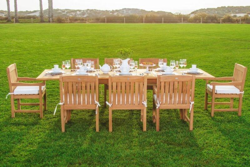 "Devon Gradea Teak 9pc Dining 94"" Rectangle Table 8 Arm Chairs Set Outdoor Garden"