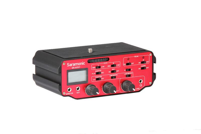 Saramonic SR-AX107 2-Channel XLR Preamp Audio Adapter w/Phantom for DSLR Camera