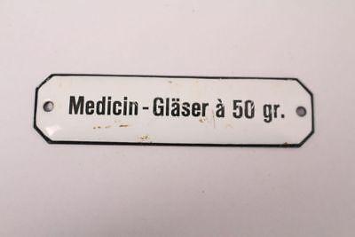 Medicin-Gläser a 50gr Enamel Sign Colonial Krämmerladen Medicine Approx. 1900