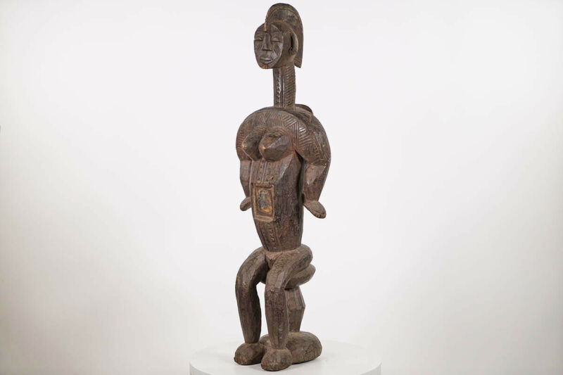 "Igala Statue with Glass Charge 43"" - Nigeria - African Art"