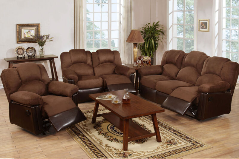 Sofa Loveseat Rocker Recliner Chocolate Microfiber Motion Sofa Set Living Room