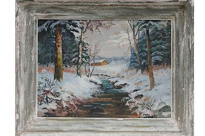 Grosse Winterlanschaft mit Bach, Ölgemälde, signiert F.Stuck
