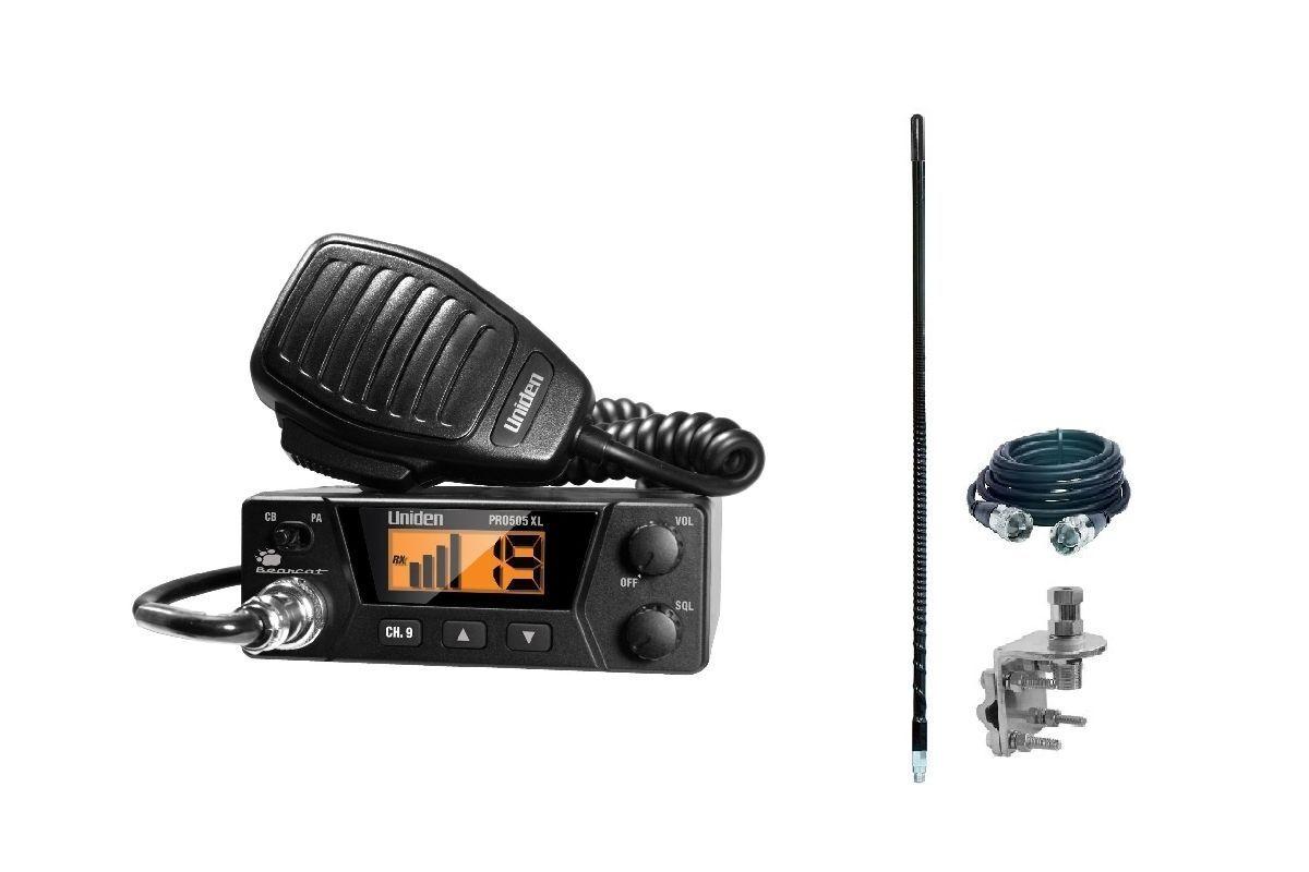 New Uniden PRO505XL Bearcat Compact CB Radio PLUS Antenna, C