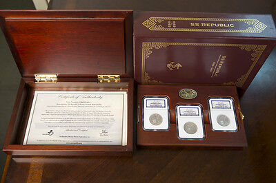 Click now to see the BUY IT NOW Price! 1861 SEATED LIBERTY 50C SS REPUBLIC 3 MINT S,O & P DELUXE DISPLAY SET  NGC CERT.